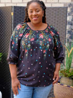 """Westport """"On And Off The Shoulder"""" Border Print Top - Plus - 1"""