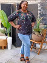 """Westport """"On And Off The Shoulder"""" Border Print Top - Plus - 4"""