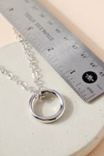 Metal Ring Charm Chain Linked Necklace - 2