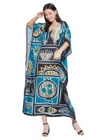 Loose V-Neck Gown Kaftan - Plus - 1