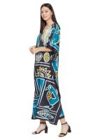 Loose V-Neck Gown Kaftan - Plus - 5