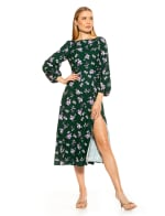 Boatneck Fit & Flare With Bubble Sleeves Dress - 9