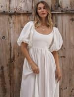 Cherie Puff Sleeve Linen Midi Dress - Plus - 31