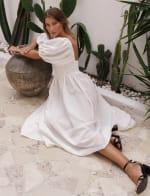 Cherie Puff Sleeve Linen Midi Dress - Plus - 29
