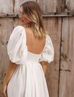 Cherie Puff Sleeve Linen Midi Dress - Plus - 28