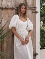 Cherie Puff Sleeve Linen Midi Dress - Plus - 30