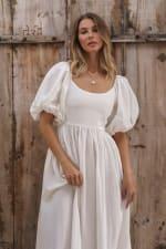 Cherie Puff Sleeve Linen Midi Dress - Plus - 34