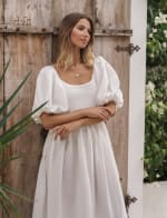 Cherie Puff Sleeve Linen Midi Dress - Plus - 33