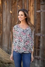 Animal Floral Fly Away Back Blouse - 6