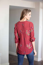 Embroidered Textured Popover Blouse - 2