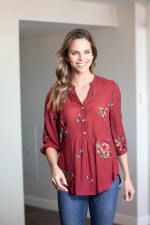 Embroidered Textured Popover Blouse - 1