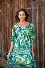 Alexa  Jade Fern Mixed Print Peasant Dress - 4