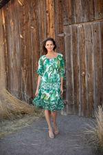 Alexa  Jade Fern Mixed Print Peasant Dress - 3