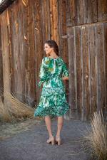 Alexa  Jade Fern Mixed Print Peasant Dress - 6