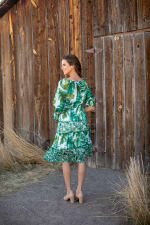 Alexa  Jade Fern Mixed Print Peasant Dress - 2