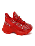 Lace Up With Rhinestone Embellished Design Sneaker - 11
