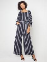 Stripe Jumpsuit with Belt - 1