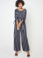 Stripe Jumpsuit with Belt - 6