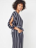 Stripe Jumpsuit with Belt - 3