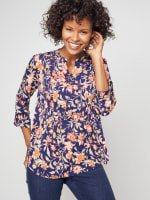 Roz & Ali Rust Floral Pintuck Popover - 1