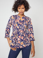 Roz & Ali Rust Floral Pintuck Popover - 4