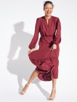 Kim Wine Button Placket Dress - 6