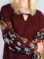 Westport Burgundy Mix Media Thermal Knit Top - 3