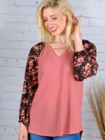 Westport Mauve Floral Mix Media Knit Top - 2