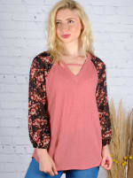 Westport Mauve Floral Mix Media Knit Top - 4