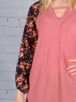 Westport Mauve Floral Mix Media Knit Top - 3