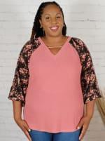 Westport Mauve Floral Mix Media Knit Top - Plus - 1