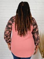 Westport Mauve Floral Mix Media Knit Top - Plus - 2