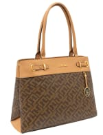 Ellen Tracy Signature Print Belted Stud Tote - 1