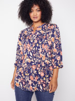 Roz & Ali Rust Floral Pintuck Popover - Plus - 1