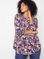 Roz & Ali Rust Floral Pintuck Popover - Plus - 3