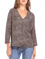 Lucille 3/4 Sleeve Tie Front Top - 1