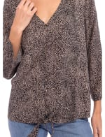 Lucille 3/4 Sleeve Tie Front Top - 3