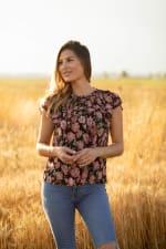 Roz & Ali Floral Flutter Sleeve Blouse - 4