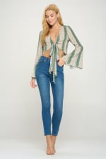 Tie Front Bell Sleeve Crop Tie Front Fashion Top - 5