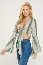 Tie Front Bell Sleeve Crop Tie Front Fashion Top - 3