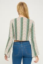 Tie Front Bell Sleeve Crop Tie Front Fashion Top - 2