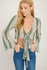 Tie Front Bell Sleeve Crop Tie Front Fashion Top - 4