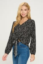 V Neck Long Sleeve Tie Front Pop Over Blouse Top - 3