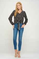 V Neck Long Sleeve Tie Front Pop Over Blouse Top - 5