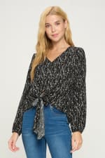 V Neck Long Sleeve Tie Front Pop Over Blouse Top - 4