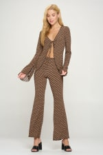 Tunic Tie Top Palazzo Pants Matching Set - 5