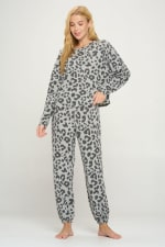 Loungwear Set Animal Leopard Long Sleeve Jogger - 4