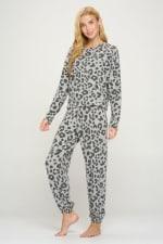 Loungwear Set Animal Leopard Long Sleeve Jogger - 3