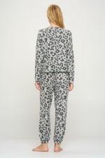 Loungwear Set Animal Leopard Long Sleeve Jogger - 2
