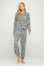 Loungwear Set Animal Leopard Long Sleeve Jogger - 1